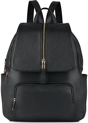 Damen Rucksack,Coofit Leder Rucksack für Mädchen Schultasche Casual Daypack Schulrucksäcke Tasche Schulranzen (Zipper schwarz)