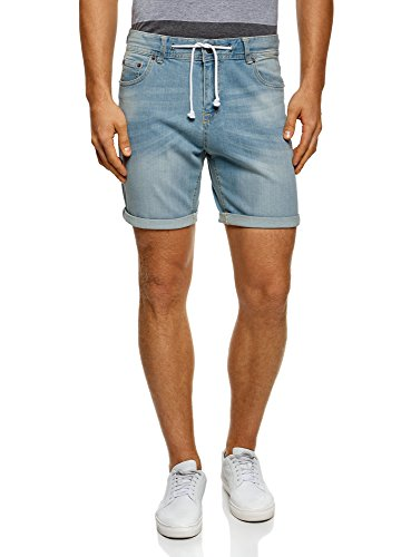 Oodji ultra uomo shorts in jeans con laccetti, blu, w34 / it 50 / eu 46