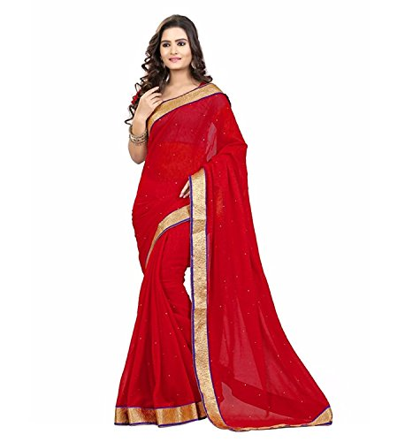 Kjp Villa Women\'s Georgette red Free Size embroidery Saree With Blouse Pics (zeel saree-117)