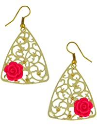The Jewelbox Filigree Flower Pink 18K Gold Plated Dangling Earring For Women