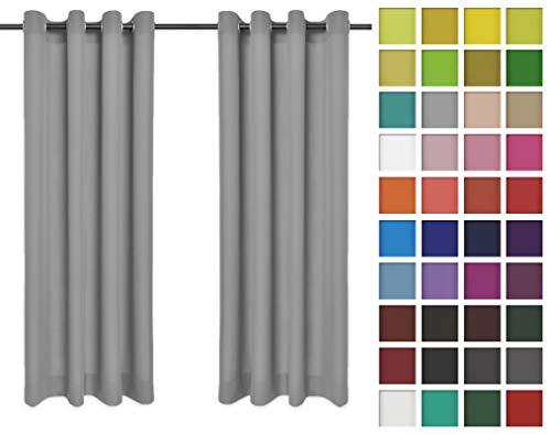 Rollmayer 2er Pack Vorhänge Schal mit Ösen Kollektion Vivid (Silbergrau 31, 135x150 cm - BxH) Blickdicht Uni einfarbig Gardinen Schal für Schlafzimmer Kinderzimmer Wohnzimmer 2 Stück
