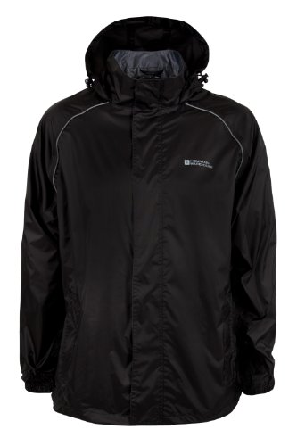 Mountain Warehouse Pakka Mens Waterproof Lightweight Packable Rain Running Sport Jacket Black Large