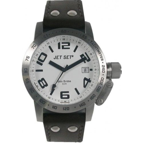 Jet Set - J20642-137 - San Remo Dame - Montre Femme - Quartz Analogique - Cadran Blanc - Bracelet Cuir Noir