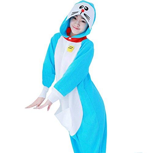 Yimidear® Unisex Cálido Pijama Animales Traje de Animal Cosplay Ropa de dormir Onesie Halloween y Navidad (S, Doraemon)