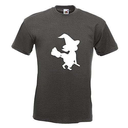 KIWISTAR - Hexe auf Besen Halloween Grusel Horror T-Shirt in 15 verschiedenen Farben - Herren Funshirt bedruckt Design Sprüche Spruch Motive Oberteil Baumwolle Print Größe S M L XL XXL Graphit
