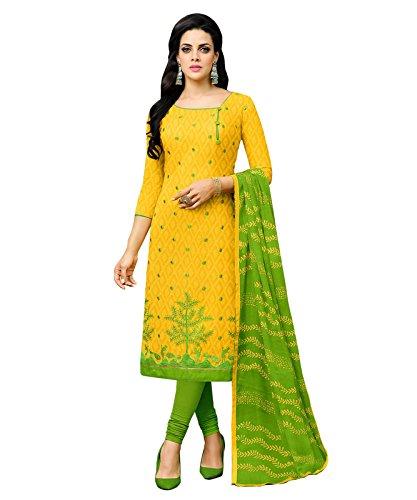 Mrinalika Fashion Women'S Cotton Jacquard Unstiched Dress Material (Yellow_Free Size)