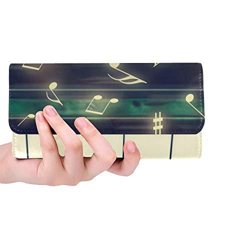 Einzigartige benutzerdefinierte Großansicht Tastatur Piano Music Notes musikalische Frauen Trifold Wallet Lange Geldbörse Kreditkarteninhaber Fall Handtasche (Musikalische Tasche Tastatur)