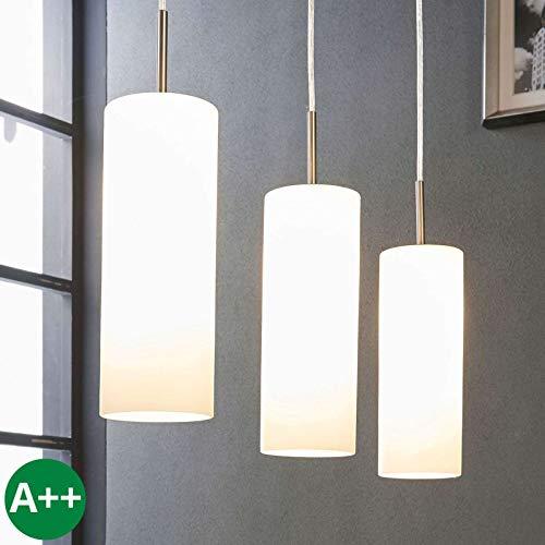 Lampenwelt Pendelleuchte 'Vinsta' dimmbar (Modern) in Weiß aus Glas u.a. für Wohnzimmer & Esszimmer (3 flammig, E27, A++) - Hängelampe, Esstischlampe, Hängeleuchte, Wohnzimmerlampe -