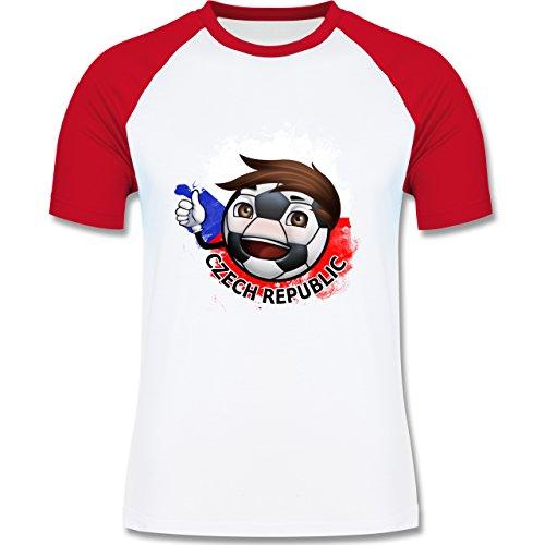EM 2016 - Frankreich - Fußballjunge Tschechien - zweifarbiges Baseballshirt für Männer Weiß/Rot