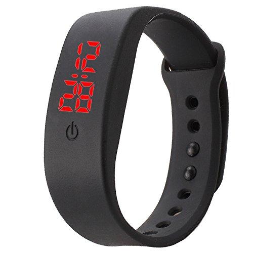 Preisvergleich Produktbild Genossen Sportuhr Unisex Sport Armbanduhre Automatik Digital Uhren Silikon LED Digitalanzeige Einfach Design (Schwarz)