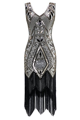 19457487ce7b Metme Women s 1920s Vintage Flapper Fringe Beaded Great Gatsby Party Dress