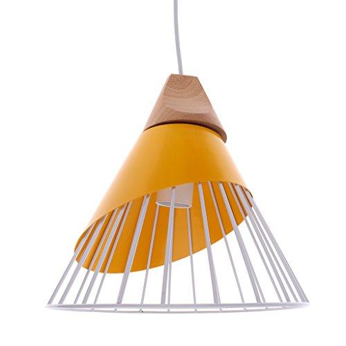Homyl Abat-jour Suspension avec Ligne Lampe au Plafond Cage en Fer Lustre Décoration Chambre Salon Couloir Escalier - Jaune