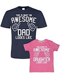Father's Day Navy & Bubblegum t-shirt set For Father and Daughter 'AWESOME DAD and AWESOME DAUGHTER' (PLEASE INPUT THE SIZES IN THE GIFT MESSAGE BOX). AN EDWARD SINCLAIR T-SHIRT SET.