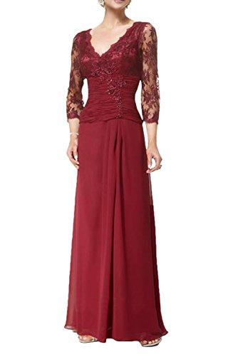 Charmant Damen 2017 Neu Dunkel Rot Chiffon Langarm Brautmutterkleider Ballkleider Abendkleider Lang A-linie Rock Dunkel Rot