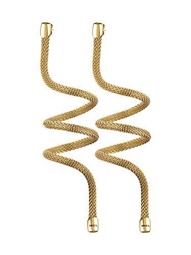 BREIL - Orecchini Donna Collezione NEW SNAKE - Gioiello Modellabile in Maglia Mesh Metallica di Acciaio Lucido - Lunghezza 20 cm - Oro/Gold - TJ2724