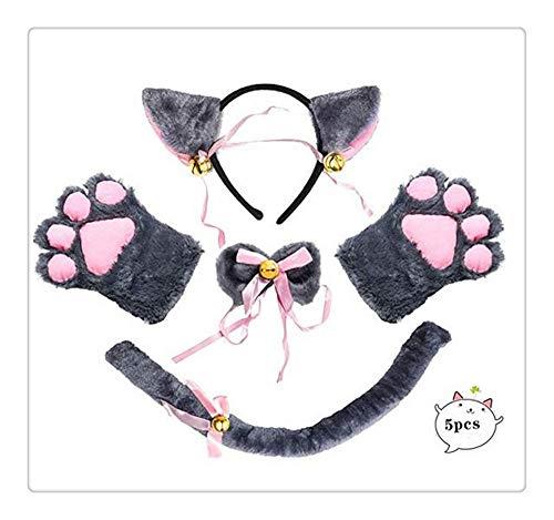 Preisvergleich Produktbild Z-one 1 Plüsch-Katzen-Cosplay-Kostüm,  Katzenohren,  Kragen und Pfoten,  Handschuhe,  langer Schwanz,  Anime,  Lolita,  Gothic-Set,  lässiges Cafe-Zubehör für Sie