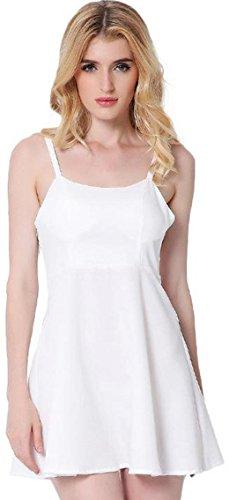 Jeansian Femme Vetement Sans Manches Robe Women's Angel Wings Strap Backless Night Party Mini Dress Summer Sleeveless Dresses WHW015 white