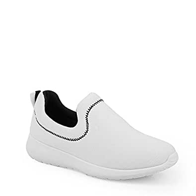 Ideal Shoes - Basket sans lacet style running Jersey Blanc 41