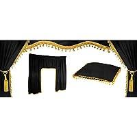 5piezas. Universal Camiones Truck cortinas de Juego–Juego cortinas visillos Interior Negro/Oro