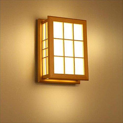 Style japonais allée applique murale en bois massif lampe chambre chambre chevet lampe hôtel boîte murale lampe A+
