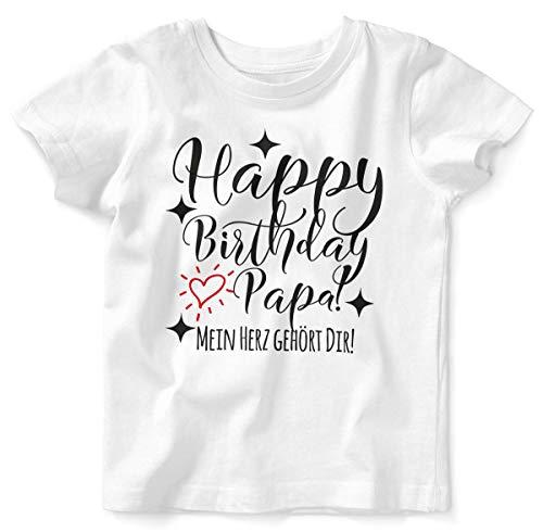 Mikalino Baby/Kinder T-Shirt mit Spruch für Jungen Mädchen Unisex Kurzarm Happy Birthday Papa! Mein Herz gehört Dir! | handbedruckt in Deutschland | Handmade with Love, Farbe:Weiss, Grösse:68/74
