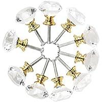 Bouton de Meuble Cristal,10 Pcs 40mm Bouton de Porte Meuble Tiroir Placard avec Vis pour Accueil Bureau Coffre Armoire Tiroir