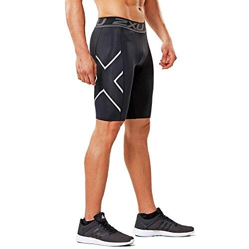2XU Herren Accelerate Comp Shorts, Schwarz/Silber, XXL (Short Triathlon Comp)
