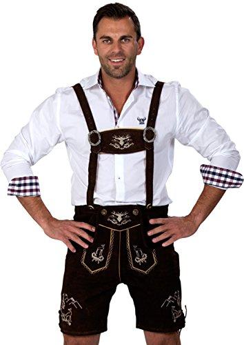 Almwerk Herren Trachten Lederhose kurz Platzhirsch, Farbe:Schwarz;Lederhose Größe Herren:50