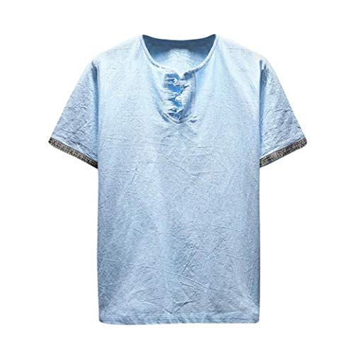 Machen Taliban Kostüm - MRULIC Herren T-Shirt Sweatshirt Rundhals Ausschnitt Kurzarm Basic Shirt Rundhalsausschnitt(Hellblau,EU-52/CN-3XL)