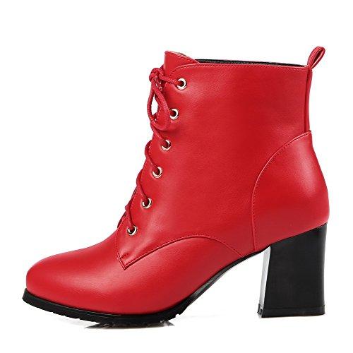 VogueZone009 Donna Allacciare Tacco Medio Luccichio Bassa Altezza Stivali con Nodo Rosso