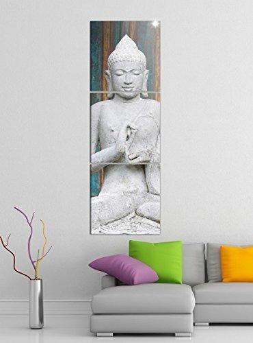 Leinwandbild 3tlg Buddha Figur Gott Asien Thailand Bilder Druck auf Leinwand Vertikal Bild Kunstdruck mehrteilig Holz 9YA3912, Vertikal Größe:Gesamt 40x120cm
