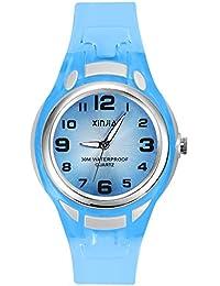 Relojes Analógicos para Niños, Niñas Impermeable Fácil de Leer Relojes de Pulsera con Correa Suave