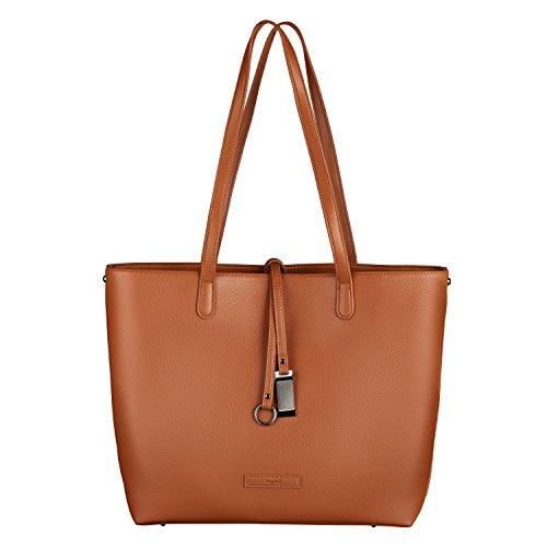 tragwert. Handtaschen Shopper Bag LARA Damentasche in braun - Henkeltasche für Damen als Damenhandtaschen Set - 2 in 1 - mit Schultertasche - groß