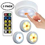 WRalwaysLX 3 Stück Puck Lights Schrankleuchte batteriebetriebene Lichter mit Fernbedienung, 2 farbige LED-Wasserhähne für Flur, Küche, Schlafzimmer, Badezimmer, Kleiderschrank 028 3pc