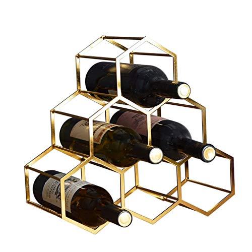 JHSHOP Weinregale 6 Flaschen frei stehend Metall Weinregal - Portable Weinregal - Kupfer plattiert, modernes Design für Wein Weinregale