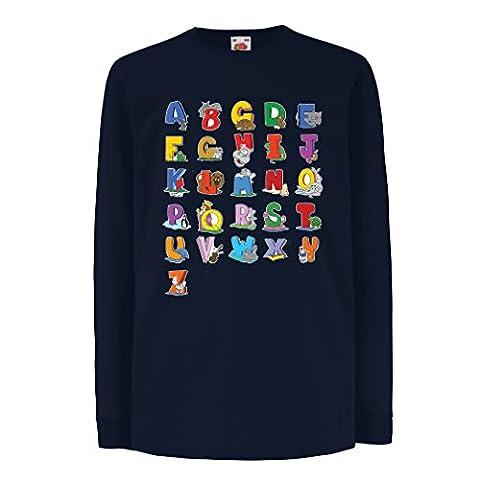 T-shirt pour enfants avec des manches longues The Alphabet, ABC chanson, cadeaux pour les enfants (5-6 years Bleu Multicolore)