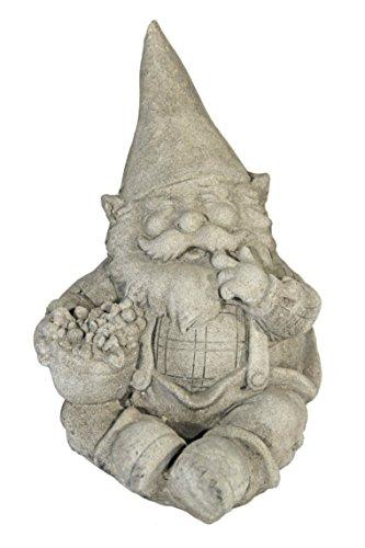 Casa Collection 11275 Zwerg, sitzend mit Korb in der rechten Hand, steinoptik, H 22 cm