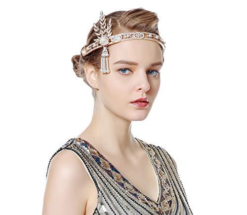 muck, 1920s Stirnband Damen Gatsby Kostüm Accessoires 20er Jahre Flapper Haarband Damen Halloween Schmuck Gold ()
