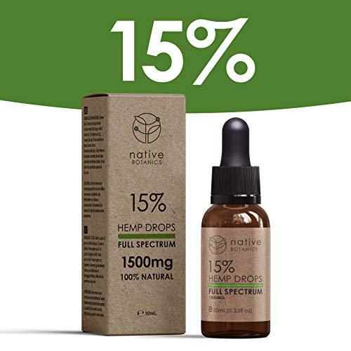 Native Botanics 1500mg (15%) Gotas de extracto de cáñamo de espectro completo para ayudar a aliviar el dolor, la ansiedad...
