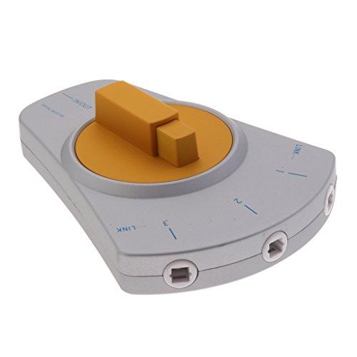 D DOLITY Toslink-Digital Optisches Audio-Kabel 3-Wege Selector-Switcher Manuelle Faseroptisch Umschalter -Silber Gold Digital Optical Selector