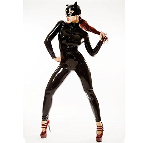 Kunstleder PVC Enger Bodysuit Verbunden Catwoman Kleidung Halloween Lackleder Katzen-Outfit Spielkleidung