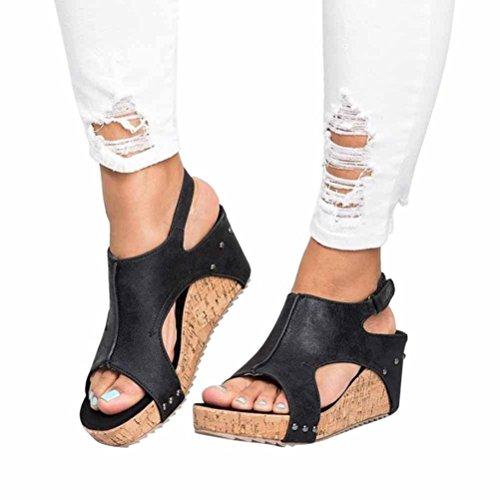 VJGOAL Damen Sandalen, Damen Mode Roman Sommer Runde Zehe Breathable Rivet Strand Boho Casual Wedges Schuhe, 7cm (35 EU, Schwarz)