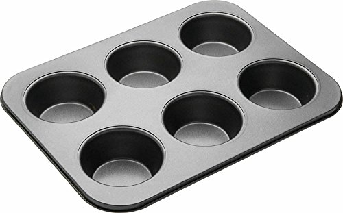 Okayji Muffin Cup Cake Tray For 6 Muffins Bakeware, Black