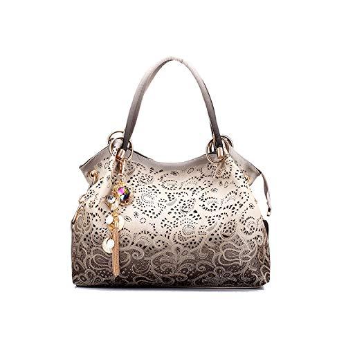 Abenddämmerung Fort Frauen sacken aushöhlen Handtasche Blumendruck-Schulter-Beutel PU-Leder Tasche,Grau,(30 cm-50 cm) -