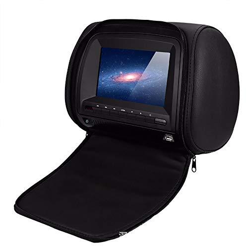 WWSZ DVD Player Auto7-Zoll, Autositz Kopfstütze Leder Adeckung Windows CE-System, Kopfstütze HDMI-Port Automatische Bildschirmunterstützung 32-Bit-Spiel Infrarot-Sender FM-Sender