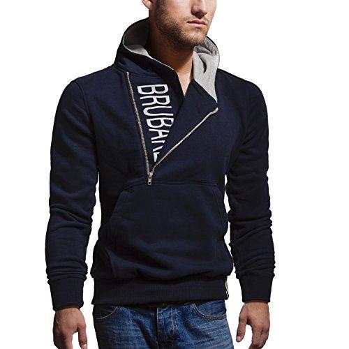 BRUBAKER Herren Label Sweatshirt mit Kapuze in 20 Farben Gr. M - XXL Navy / Hellgrau