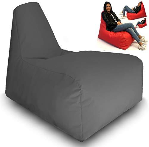 Sitzbag Sitzsack Gamer Sport Racing Gaiming Lounge Sessel In & Outdoor Sitzsäcke Stuhl Kissen Sofa Hocker Sitzkissen Bodenkissen mit Styropor Füllung-Bag Sitzsäcke Möbel (Anthrazit) -