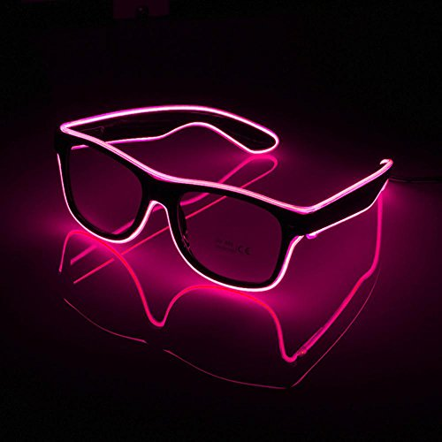 Aolvo LED Luminous Brillen, Glow Brillen EL Draht LED-Licht bis Sonne Blink Sonnenbrille Rave Neon Light up Sonnenbrille für Halloween Weihnachten Geburtstag Party Favor für Kinder Erwachsene Rose