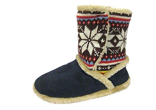 Coolers 078 Donna Finto Camoscio Nordico a Maglia Pantofole Stivali Blu marino