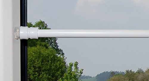 cg-sonnenschutz Klemmstange Flex mit Saugknopf für Fenster Gardinen Vitragen (80 - 120 cm, weiß)